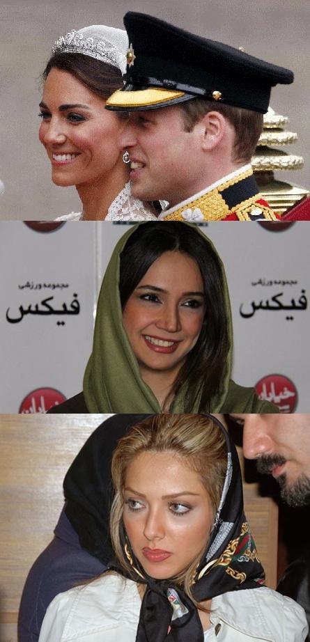 مقایسه آرایش عروسی ملكه انگلیس و چند بازیگر ایرانی